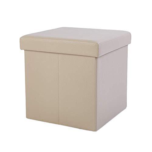 Zedelmaier Sitzhocker Sitzwürfel mit Stauraum Fußbank Truhen Aufbewahrungsbox faltbar belastbar bis 300 kg, Deckel abnehmbar, 38 x 38 x 38 cm (Dunkelbeige)