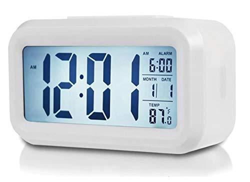 Kaishuai-Reloj Despertador Digital,con Sensor de luz,LCD Digital Alarma Despertador,Dormitorio Juvenil Completo,Blanco Reloj mesita de Noche-Despertador luz