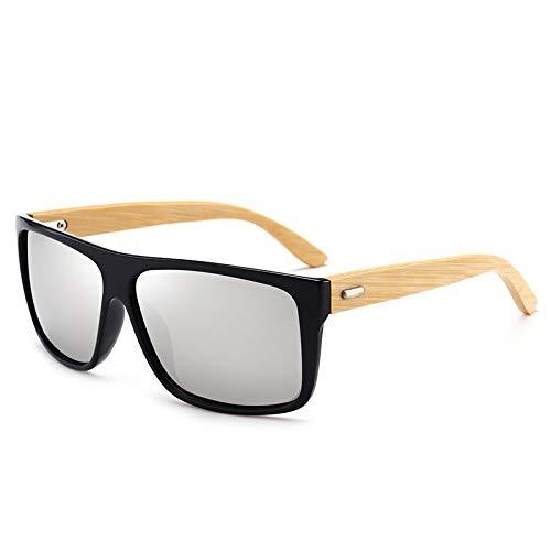 Gafas de Sol Sunglasses Gafas De Sol Rectangulares De Bambú Vintage para Hombres Y Mujeres, Lentes Degradados, Gafas De Sol para Conducir, Espejos Retro De Madera, Sombra