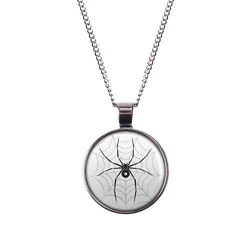 Mylery Hals-Kette mit Motiv Schwarze Spinne Stern Netz Silber 28mm