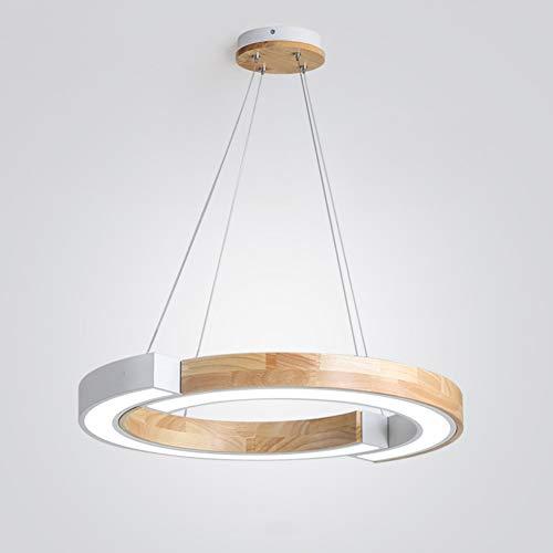 Holz-Kronleuchter 36W LED Pendelleuchten Weiß Acryl Modernen Design Esszimmer Runde 1-Ring Metall Pendel-lampe Höhenverstellbar Büro Innen Esstisch Wohnzimmer Deckenleuchte
