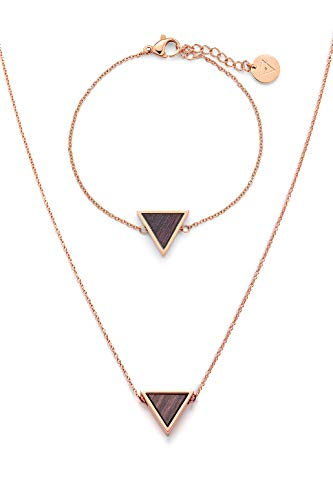 Kerbholz Holzschmuck – Schmuckset Triangle Roségold, Geometrics Collection, hochwertige Damen Halskette und Armband mit Dreieck Anhänger aus Naturholz