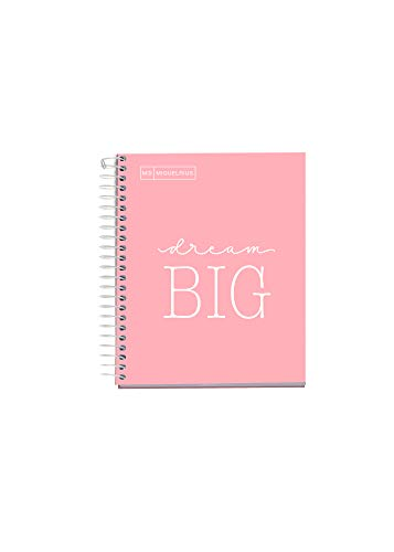 MIQUELRIUS - Cuaderno Notebook Messages - 1 franja de color, A6, 100 Hojas cuadriculadas de 5mm, Papel 90 g, Sin Taladros, Cubierta de Cartón Extra Duro, Color Rosa