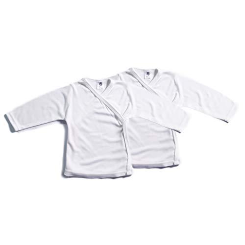 Booboobro Booboobro 100% Bambus Baby Langarm Wickelshirt im 2er Pack (Weiß 62)