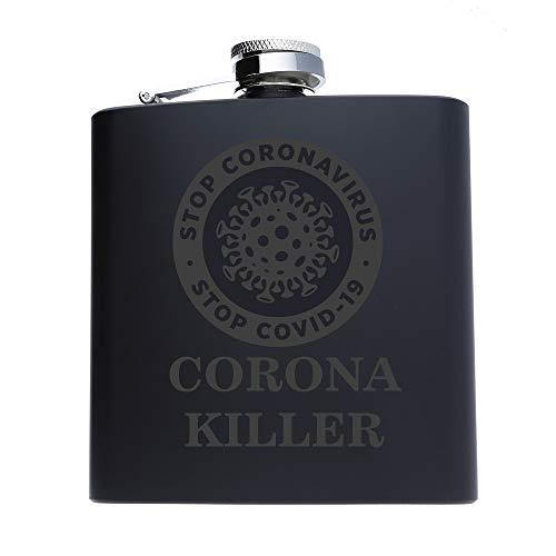 FORYOU24 Edelstahl Flachmann mit Gravur Corona Killer Black Geschenk für Papa Opa Onkel Freund zu Weihnachten, Geburtstag