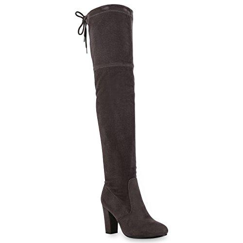 Damen Stiefel Overknees Wildleder-Optik Blockabsatz Langschaftstiefel Boots Schleifen Schuhe 121546 Grau 36 Flandell
