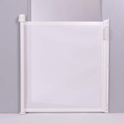 Lascal KiddyGuard Assure, platzsparendes Treppenschutzgitter für Babys und Kleinkinder mit effektivem Design, einrollbares Türgitter aus Netz, Türschutzgitter bis 100cm, weiß