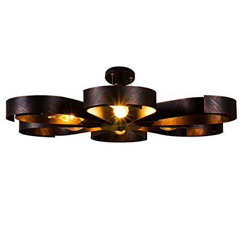 Deckenleuchte Deckenlampe Industrie Metall Lampen Rustikal Antik für Landhaus Schlafzimmer Küchen Wohnzimmer Esstisch Decken Licht Schwarz Ring Design Decken Leuchte Loft, 6 flammig L60cm