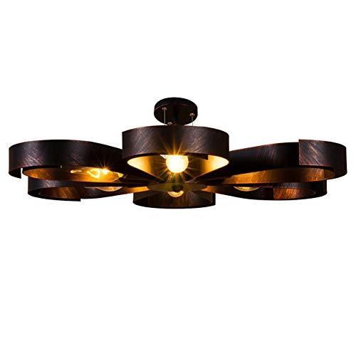 Deckenleuchte Vintage Industrie Metall Lampen Rustikal Deckenlampe Antik für Landhaus Schlafzimmer Küchen Wohnzimmer Esstisch Decken Licht Schwarz Ring Design Decken Leuchte Loft, 6 flammig L60cm