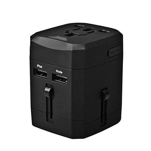 MMOBIEL Adaptador Enchufe International de Viaje con Puerto USB Dual de Carga 2.1A. Cargador Universal Todo en Uno.