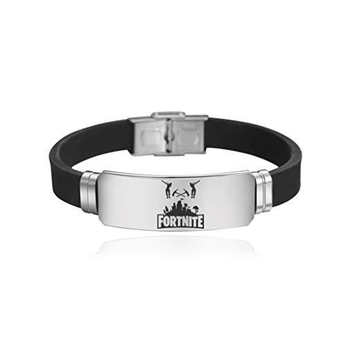 Armband - Battle Royale Fort Nacht Umgebung Edelstahl Mode Einstellbare Armband Sport Silikon Zubehör 002 (Color : D)