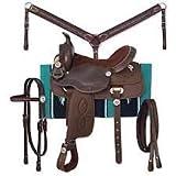 Deen, Enterprises - Sottosella per cavallo per adulti, in materiale sintetico occidentale, adatto per la testa, il collare del seno, le redini e la sella, misura 47,2 cm di seduta disponibile.