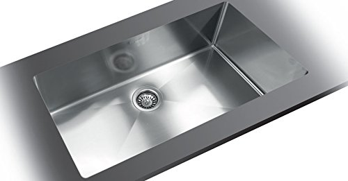 New TopZero, TZ.RS900, Jerusalem, Rimless Sink Large Single Bowl 35-1/2in.x17-3/8in.x10in. 16 Gauge /w European Soft Satin Finish, Stainless Steel
