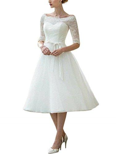 Brautkleid Hochzeitskleider Damen Kurz Spitzenkleid Chiffon A Linie mit Halbarm Elfenbein EUR52