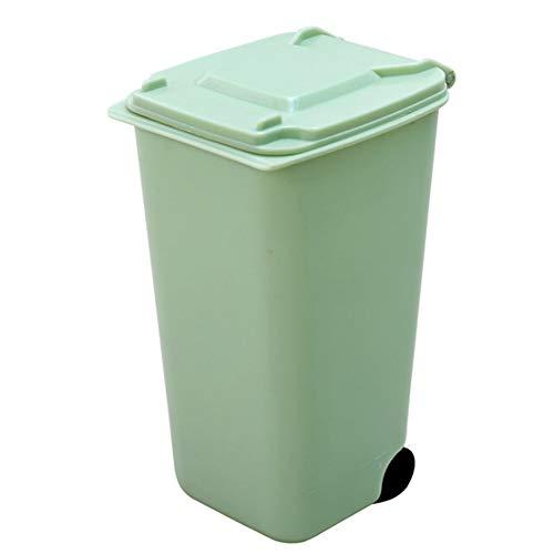 1PC Mini Mülleimer Desktop-Mülleimer mit Deckel Durable Mini Mülltonne Bleistift-Schale-Halter mit Lippen & Rad für Home School Büro (Grün)
