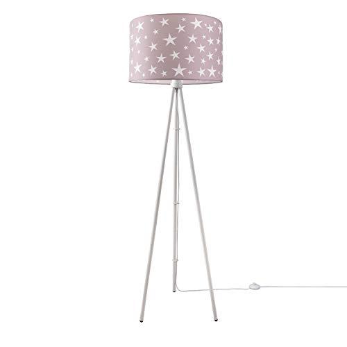 Kinderlampe Stehlampe LED Kinderzimmer, Sternen-Motiv, Deko Stehleuchte E27, Lampenfuß:Dreibeinig Weiß, Lampenschirm:Pink (Ø45.5 cm)