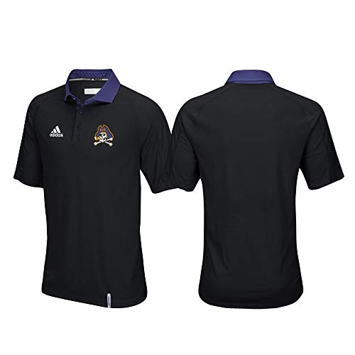 adidas East Carolina Pirates NCAA Men's Sideline Climachill Performance Black Polo Shirt (XL)
