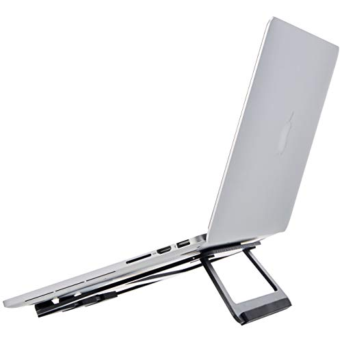 Amazon Basics – Soporte plegable de aluminio para ordenador portátil de hasta 33 cm (13 pulgadas), Negro