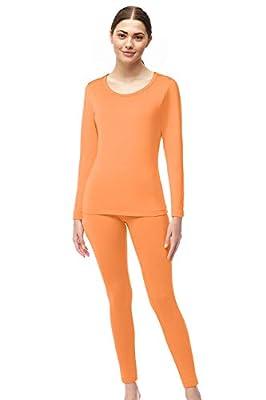 Womens Super Comfy Fleece Lined Thermal Underwear Long Johns AZ 2000 Orange S
