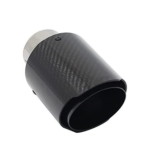 ZZMWLES Coche Brillante Fibra de Carbono Silenciador Sumblador Sistema de Escape Tubera Mufflers Boquilla Universal Straightless Black (Color : 63mm 76mm)