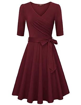 Gaharu Women's Wrap V Neck Dress Elegant Vintage A Line Dress