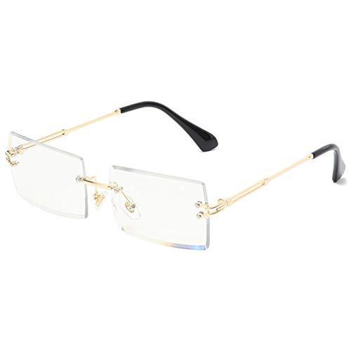 occhiali lenti trasparenti donna Long Keeper Occhiali da Vista Rettangolari Donna Occhiali da sole quadrati senza montatura moda per donna (Oro Trasparente)