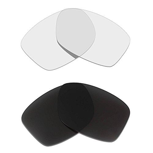 HKUCO Mens Replacement Lenses For Oakley Jupiter Squared Sunglasses Black/Transparent Polarized