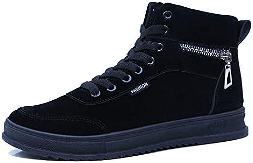 YAN Herren Stiefel Suede Fall & Winter High-Top-Casual-Schuhe Mode Sportschuhe Lace Up Academy Deck Schuhe Outdoor Wanderschuhe,B,40