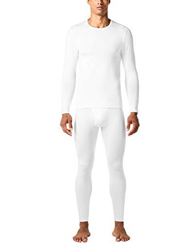 LAPASA Herren Innenfleece Thermounterwäsche Set - LEICHT & Midweight - Ski Funktionsunterwäsche für Winter M11 M57 MEHRWEG (Small(Taile 71-76cm, Ärmel 57cm), Ultra-dünne: Weiß New)