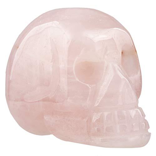Rockcloud Healing Crystal Stone Human Reiki Skull Figurine Statue Sculptures Rose Quartz 1.5'