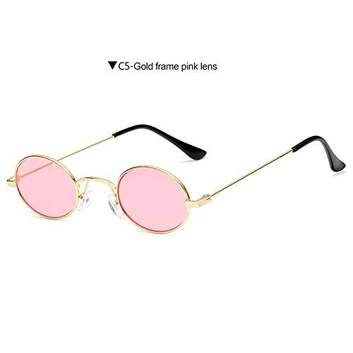 FRGTHYJ Vintage kleine ovale Sonnenbrille Frauen Männer Retro Metallrahmen Rot grau Linse Runde Vintage Sonnenbrille UV400 Pink