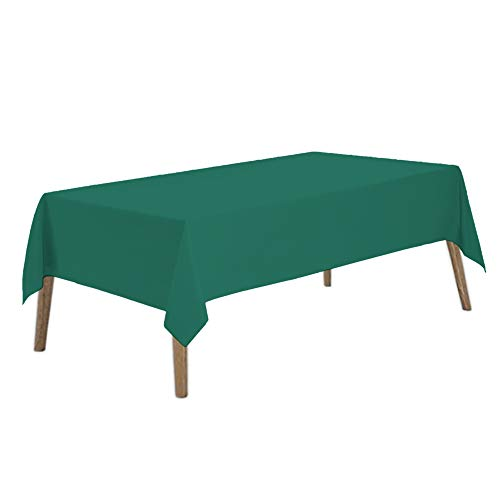 Dark Green Plastic Tablecloths 2 Pack Hunter Green Disposable Table Covers 54 x 108 Inch Bridal Shower Party Tablecovers PEVA Forest Green Table Cloths for Birthday Wedding 8 ft Rectangle Table Use