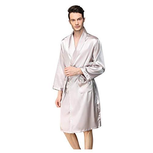 Handaxian Herren Seidensatin Bademantel Robe Volltonfarbe Pyjama Herren Seidensatin Pyjama Kimono