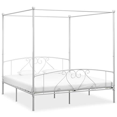 UnfadeMemory Himmelbett-Gestell Metall Himmelbett Eisenbett mit Himmel Metallbett Klassisch Design Schlafzimmerbett Bettrahmen ohne Matratze (180 x 200 cm, Weiß)