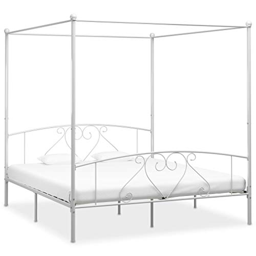 Irfora Canopy Bed Frame, Double Bed Frames for Adults White Metal 180 X 200 Cm 6ft Super King