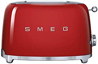 Smeg TSF01RDUK, 50's Retro Style 2 Slice Toaster,6 Browning Levels,2 Extra Wide Bread Slots, Defrost and Reheat Functions,...