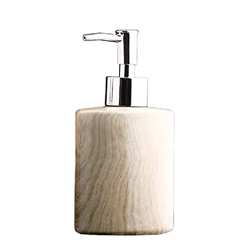 DIWA Dispensador de jabón de grano de madera de cerámica con bomba, botella de loción reutilizable para aceite esencial/gel de ducha, 220 – 350 ml (color: A)