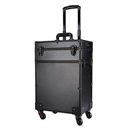 GXHGRASS, toilettas voor reiskoffer, met instelbare helderheid op LED, 57,2 x 24,5 x 59,5, aluminium, zwart