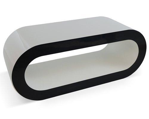 Zespoke Design Bianco Lucido con i Lati Neri Cerchio Supporto Tavolino/TV in Varie Dimensioni