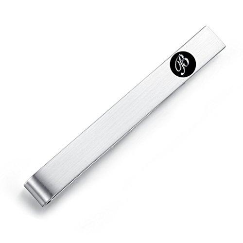 HONEY BEAR 5.4cm Herren Briefe Initialen Krawattennadel Krawattenklammer für Normale Krawatte Edelstahl Tie Clip,Silber mit Schwarzem Buchstaben (B)
