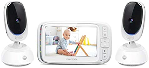 Motorola Comfort75-2 Video Baby Monitor - Infant Wireless Camera with Remote Pan, Digital Zoom, Temperature Sensor - 5 Inch LCD Color Screen Display with Two-Way Intercom, Night Vision - 1000ft Range