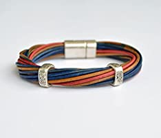 Leather bracelet colours with magnetic clasp, gifts and accessories for men, fashion jewellery for him