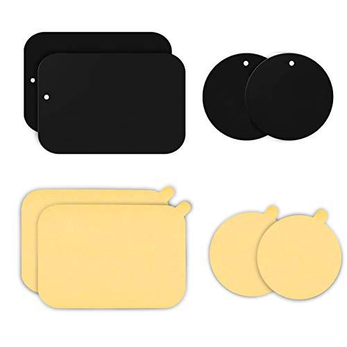 YGKJ 3M Kleber Metallplatte, 4 Stück Selbstklebend Metallplättchen Set ( mit 4 Schutzfolien) für Magnet kfz Handyhalter, Sehr Dünn Metallplatten (2 Rechteckige und 2 Runden) (Schwarz)