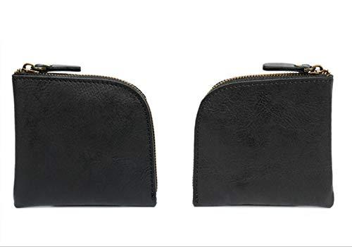 Leather Coin Purse Fashion Retro Men's Bag Top Layer Leather Handmade Wallet Key Bag Men and Women - Black_10.5 * 10.5 * 1.5cm