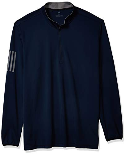 adidas Golf 3-Stripe Midweight Layering Top, Collegiate Navy/White, Large