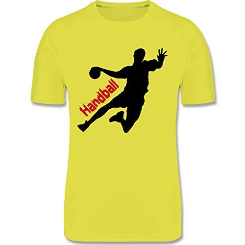 Sport Kind - Handballer mit Schriftzug - 164 (14/15 Jahre) - Neon Gelb - Sportshirt Jungen 164 - F350K - atmungsaktives Laufshirt/Funktionsshirt für Mädchen und Jungen