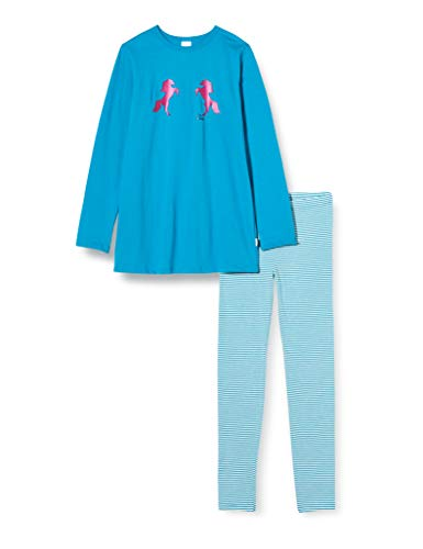 Schiesser Mädchen Md Schlafanzug lang Pyjamaset, Petrol, 140