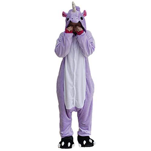 Black Sugar Mono Kigurimi Pijama Pijama Lemuriano cebra, tiburn, unicornio, adulto, adolescentes y adolescentes de peluche suave, disfraz de Carnaval Cosplay sin zapatillas azul XL