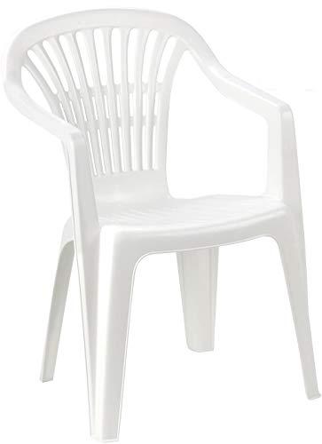 Poltrona Sedia Scilla in Dura Resina di plastica Bianca impilabile con braccioli