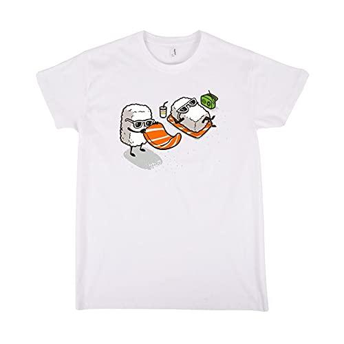 Pampling Camiseta Summer Sushi - Playa - 100% Algodón - Serigrafía - Color Blanco - Talla S